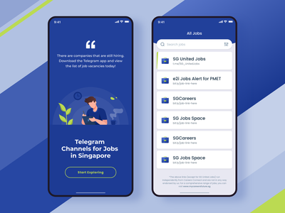 Job Search jobseeker jobsearch singapore telegram illustration iphonex ios ui jobs