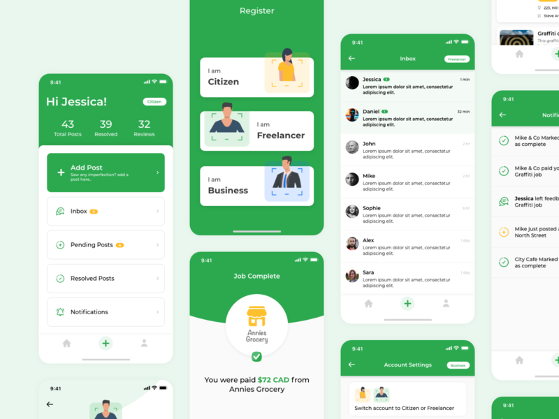 Freelance App outsourcing contract green earning jobs freelance branding illustration iphonex app mobile ios ux ui
