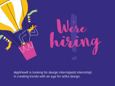 We're Hiring - Design Interns internship uxdesigners uxinternship uxdesign