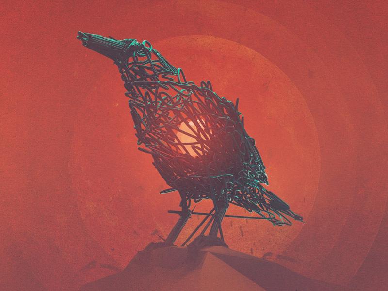 The Herald c4d cinema 4d 3d cg digital illustration crow bird orange