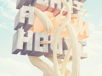 We can plant a house c4d cinema 4d cg digital illustration 3d vray tree type typography
