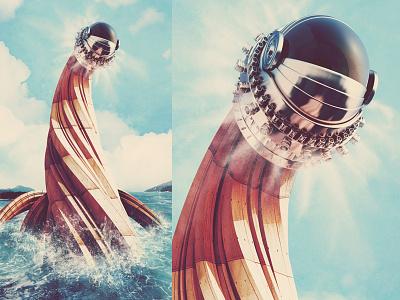 Behold! 3d c4d cinema 4d creature digital illustration monster poster render robot tentacles water
