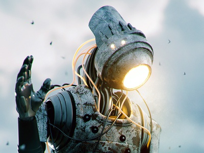 Farewell Transmission rust water swamp android octane sci-fi 3d render photoshop cinema 4d robot