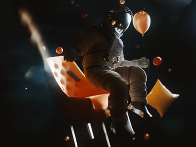 Perpetual state of motionlessness motion float universe astronaut scifi concept art photoshop 3d illustration cinema 4d