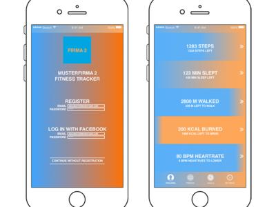 Fitness Tracker App: Color Gradient ui ux progress visualization color gradient fitness tracker app design