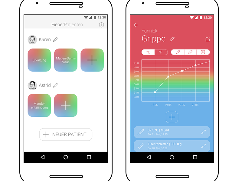 Fieber App Re-Design ui ux gradient health graph concept measurement temperature data fever app design