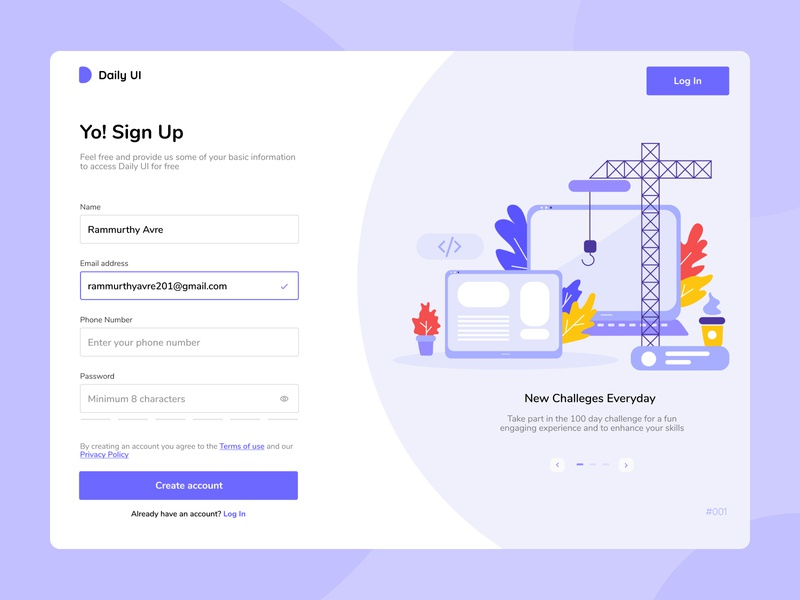 Daily UI - #001 - SignUp Page daily 100 challenge onboarding signup illustration flatdesign concept minimalism dailyui 001 dailyui