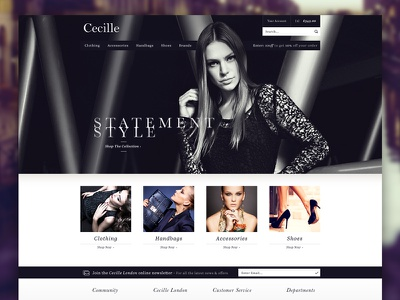 Fashion eCommerce women ladies elegant minimal simple dark clothing store fashion ecommerce