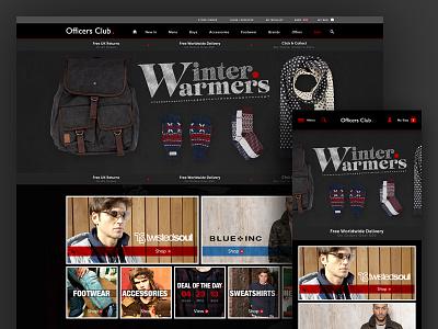 Officers Club Responsive eCommerce conversion sales ux ui winter fashion textured dark website responsive ecommerce shop