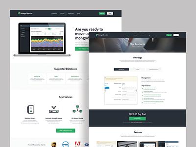 Mongo hosting saas white interface ui clean homepage website