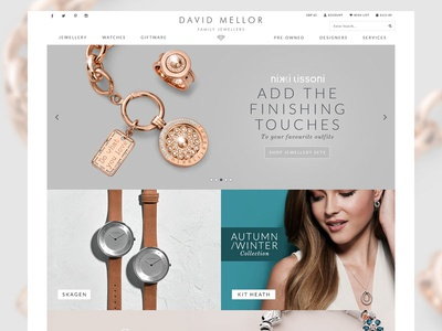 Jewellery eCommerce Site watches minimal clean jewellery design homepage website shop store ecommerce visualsoft