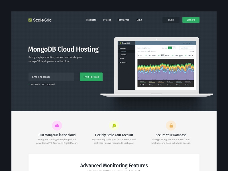 scalegrid cloud product saas web minimal app dark interface design website clean ui