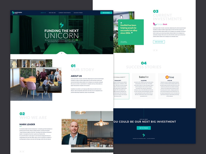 Northern Stable website clean funding investments branding ux ui landingpage homepage