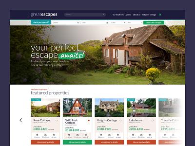 cottage ux ui clean cottages cabins airbnb travel app travel booking website concept web website design website