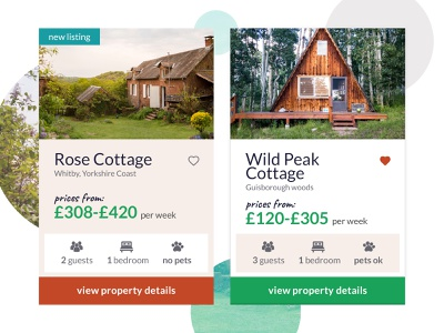 Property Card Details cottage cabin outdoors property search details book clean property listing products cards interface ui
