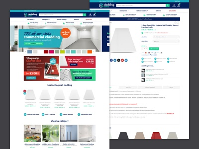 Cladding eCommerce cladding brand bold salesy sales productpage product homepage ux ui building store tradesmen trade business buy ecommerce shop website web