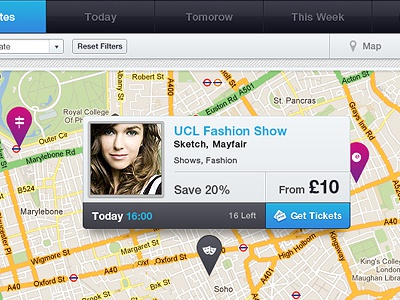 Mapview map view grid model fashion show tickets event ui web website design pin blue interface popup