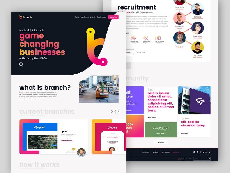 Branch Homepage ux uiux ui clean ui clean bold gradient colour design agency startup landingpage landing design