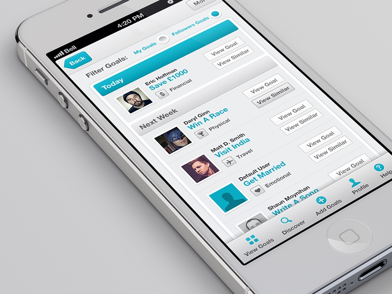 App Design app iphone ios application ui icons design interface mobile clean light blue grey white goals aaron moody