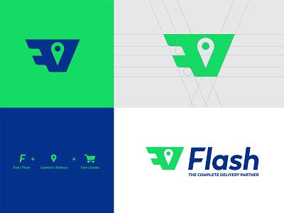 Flash - Online Delivery App Logo Design delivery online concept minimal vector illustration icon geometric design branding app
