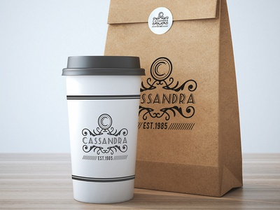 Take away coffee cup and bag mock up design Free Psd