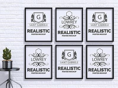 Realistic poster mock up Free Psd templates up mock wall website web frames template mockup poster frame