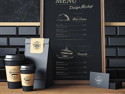 Restaurant elements mock up design Free Psd cafe blackboard restaurant template design coffee menu mockup card business