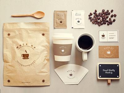 Coffee stationery mock up Free Psd