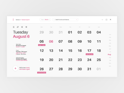 Calendar - Desktop UI Concept