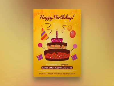 Birthday Party Poster/Flyer template print logo free design customisable corporate clean catalogue catalogs brochure brand