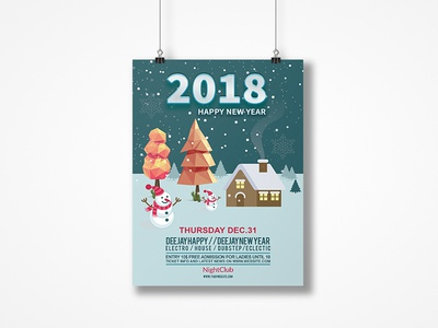 Happy New Year Flyer/Poster template print logo free design poster corporate clean catalogue catalogs brochure brand