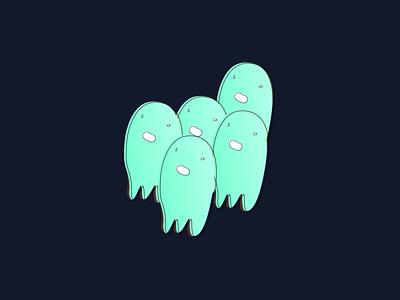 Spooky Dudes ghosts sketch illustration