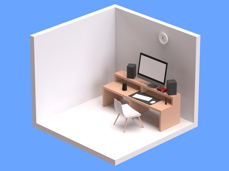 Home Office Desk in Isometric illustration isometric work office desk modelling practice blender3d b3d 3d art 3d design