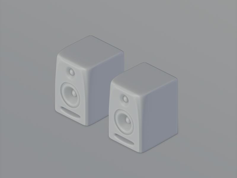 Studio Monitors in 3d sound music isometric illustration isometric krk rokit5 illustration modelling practice blender3d b3d 3d art 3d design