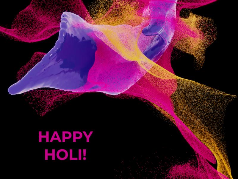 Happy Holi 2019 illustration 3d art blender3d b3d design splash liquid powder particles generative 3d color the festival of colour happy holi india festival colours holi