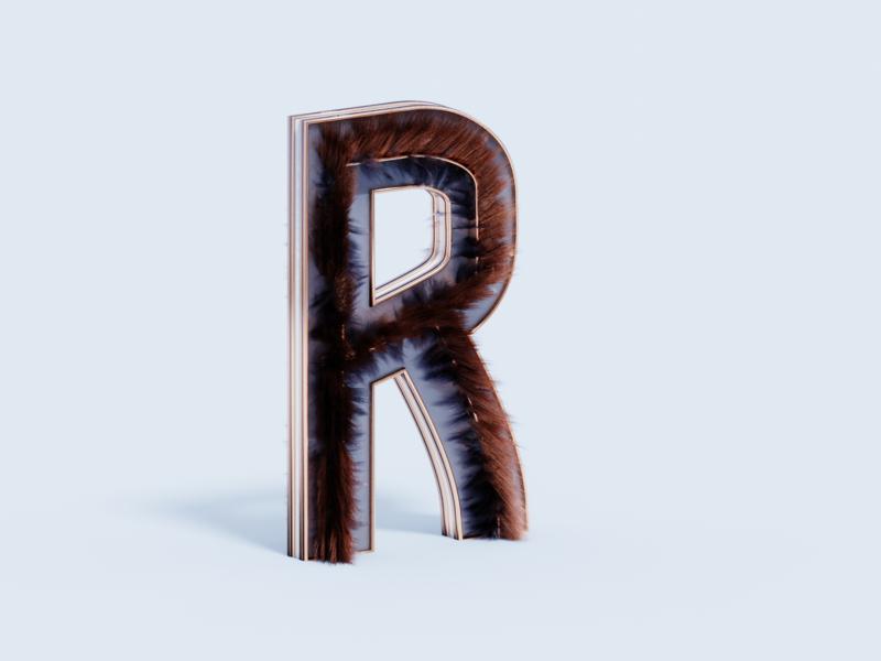 36 days of type - R type alphabet practice 3d art blender3d b3d design 3d letter lettering typography illustration plastic metal hair glass r 36 days of type lettering 36 days of type