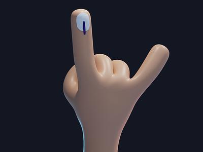 Voter Rockstar blender3d design 3d india democracy pick choose inked hand sign rockstar voting day indian elections election2019 vote