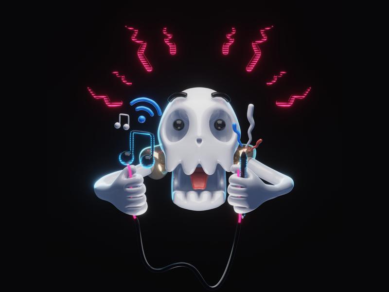 High on Art, Music & Wifi 3d art sketch art excited electric electrified hands skull character design character b3d illustration blender3d design 3d