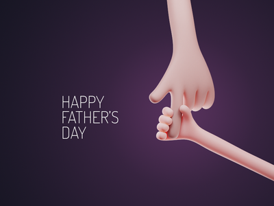 Happy Father's Day hand holding hands 3d illustration design father dad happy fathers day fathersday