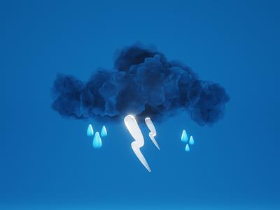 Monsoon is here 3d art 3d blender3d lightning clouds cloud illustration design thunder weather rains monsoon