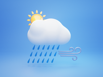 Sunny Cloudy Rainy Breezy breeze illustration design wind rain clouds sun 3d icons icon weather