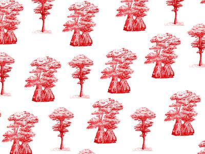 Cypress Trees nature art nature illustration red plant illustration trees pattern design pattern art drawing digital art florida tallahassee illustration