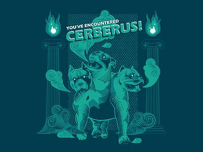 You've Encountered Cerberus! poster art boss screen women in illustration greek mythology cerberus game design game art digital illustration dribbble digital art illustration