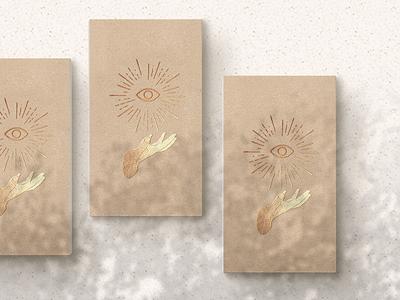 Enlightenment! women in design eyes hands dribbble digital art gold foil logo design card design magic mockup illustration business card