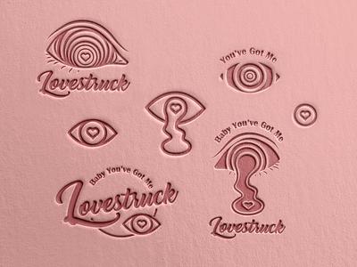 Lovestruck pink logo letterpress illustrator pink dribbble texture logodesign eyes love logo design digital art illustration