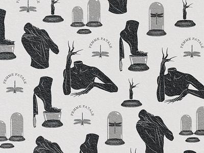 Femme Fatale logodesign spooky femme fatale vector logo texture dribbble design digital art illustration
