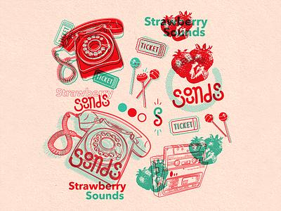 Strawberry Sounds typography printmaking branding design risograph music strawberry vector drawing texture dribbble design digital art illustration