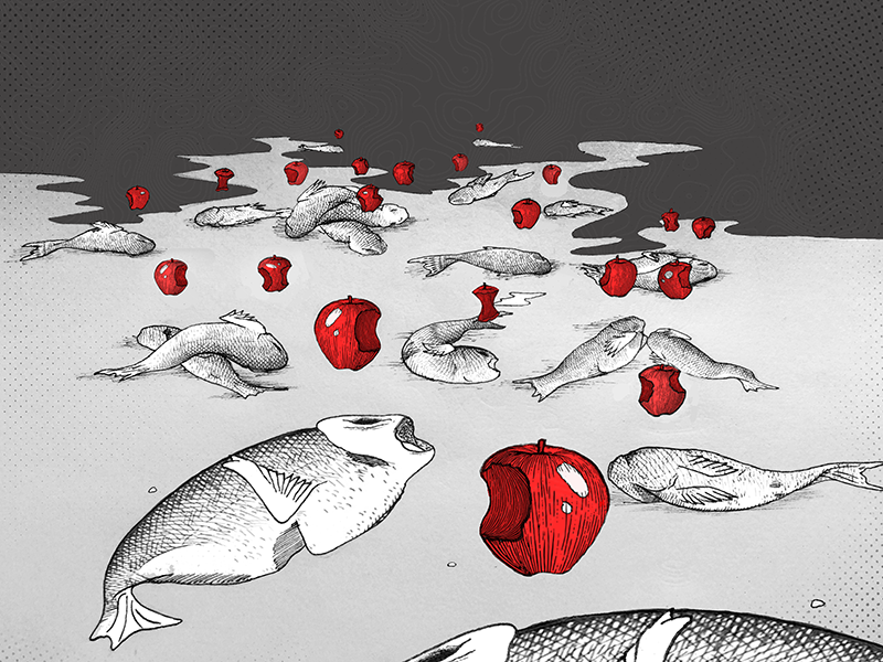 Red Tide Editorial poisonous inktober illustration editorial red tide red