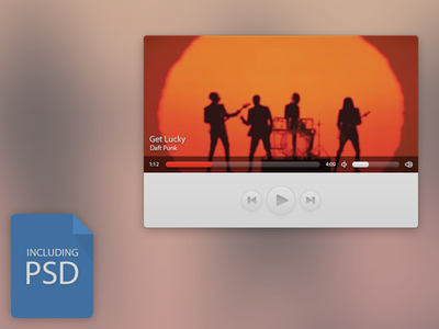 Music Player Freebie freebie music player daft punk psd