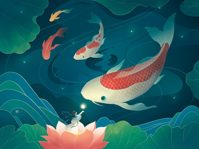 Good luck to brocade carp lotus summer design color china imagine illustration